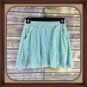 Maison Jules Light Blue Dandelion Print Skirt EUC